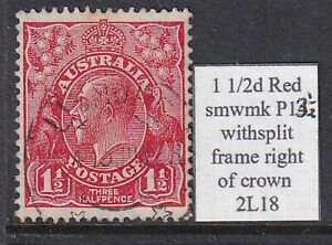 AUSTRALIA KGV 1 1/2d RED SM WMK P13 1/2 WITH SPLIT FRM RIGHT OF CROWN 2L18 USED