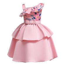 Girls Summer Kids One Shoulder Princess Dresses Formal Wedding Bridesmaid Dress
