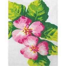 Kit canevas fleurs roses toile coton + aiguille + fils enfants broderie couture
