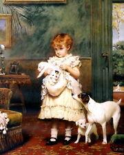 LRG CHARLES BURTON BARBER Art Print PUPPY LOVE Child & Dog JACK RUSSELL TERRIER