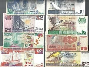 Singapore ✨ 8 banknotes ✨ SHIP/BIRD series ✨ COLLECTIONS & LOT #9210