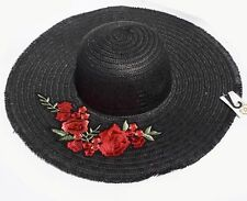 Black Straw Knitted Floral Detail Beach Sun Floppy Hat