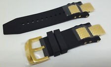 Invicta Subaqua Noma III Black Polyurethane Strap Band Gold Inserts