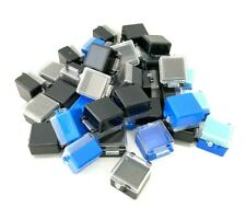 """Small Plastic Box Hinged Lid (41)  Black Blue Most Have Foam inserts 1"""" Square"""