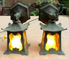 Antique Arts and Crafts Copper Porch Sconce Pair Light Stain Glass Roycroft