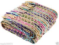 Soft Beige Multi Colour Semi Stripe Acrylic Chunky Weave Throw 125cm x 150cm