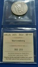 1871  German States WURTTEMBERG  Thaler Silver Coin ICCS EF-40