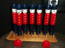 Wooden Soldier Skittles Bowling Queens Royal Guard with Car Incomplete