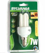 6 X 7W SES MINI LYNX LOW ENERGY SAVING LIGHT BULBS 240v 2700k WHITE LAMP BRIGHT