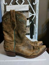 Old Gringo Cowboy handmade boots size 9.5B  brown distressed leather turquoise