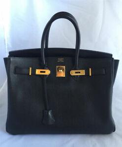 Authentic Hermes Birkin 30CM Bag -Black Gold*-Hardware.