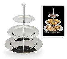 3 Tier Stainless Steel Silver Cake Stand Cupcake Stand Food Serving Stand