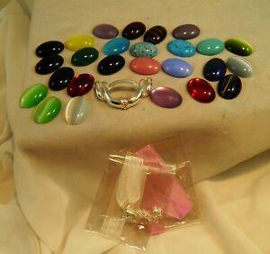 Vintage Premier Designs Ribbon Necklace Silver Tone w/ 26 Interchangeable Stones