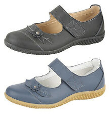 WOMENS EXTRA WIDE EEE FIT LEATHER VELCRO SHOES SIZE 3 - 8 BLACK NAVY
