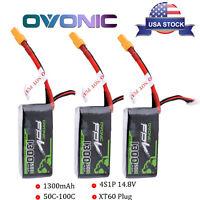 3X Ovonic 4S 14.8V 50C 1300mAh Lipo Battery Pack For FPV Drone Quad XT60 Plug