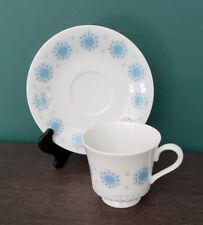 Vintage Harmony House Fine China 3501 Blue Snowflake  Footed Cup and Saucer