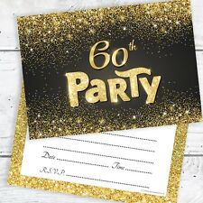 60th Birthday Invitations Black and Gold Glitter Effect with Envelopes (Pack 10)