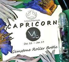 CAPRICORN Zodiac Roller Bottle Crystal Set Essential Oil Astrology Wicca Gift