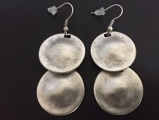 Silver Earrings Ottoman Turkish Ethnic Tribal Gypsy Boho 2 Disc Oval Circle Drop