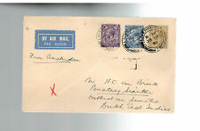 1930 Liverpool England First Flight Cover via KLM to Sumatra Netherland Indies