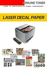 15 fogli A4, carta decalcomanie, waterslide decal paper, per stampa LASER