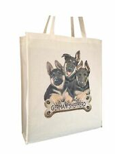 German Shepherd Puppy Natural Cotton Bag with Gusset & Long Handles Perfect Gift