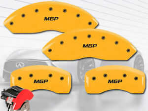 """2009-2012 FX35 Front + Rear Yellow Engraved """"MGP"""" Brake Disc Caliper Covers 4pc"""