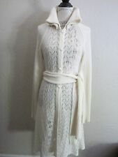 Diesel Womens Alpaca Wool Ivory Crochet Wrap Duster Cardigan Sweater Coat M EUC