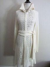 Diesel Womens Alpaca Wool Ivory Crochet Wrap Duster Cardigan Sweater Coat M EUC
