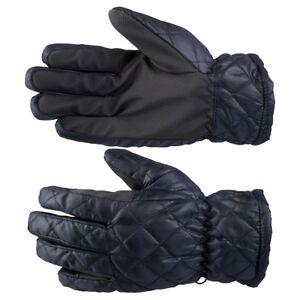 1 Pair Quilted Winter Gloves With PU Grip Dark Blue Size 7-10