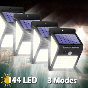 144 LED Solar Lamp PIR Motion Sensor Outdoor Garden Yard Waterproof Wall Light