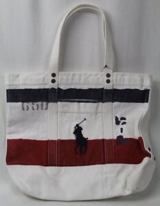 POLO Ralph Lauren White Red Blue Patriotic Big Pony Zippered Tote Bag NWT