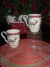 222 FIFTH MOUNT HOLLY GREEN SET/2 COFFEE MUGS/CUPS MOOSE WINTER PINECONES