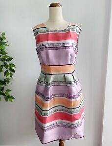 Ashley Brooke Women's Fit and Flare Dress Size 12 Purple Grey Pink Stripes