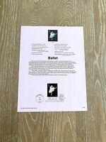 Ballet Stamp USPS Souvenir Page First Day Of Issue #9828