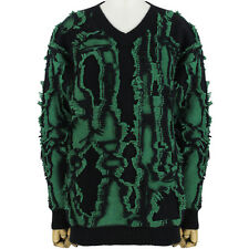 Stella McCartney Black Green Fray Boyfriend-Fit Knitwear Jumper Sweater IT36 UK4