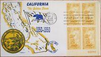 1950 FDC: California CA Statehood Centennial 'Plate Block' First Day Cover