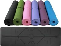 "Nonslip Eco-friendly 72"" TPE Pilates Yoga Mat Alignment Lines With Free Strap"