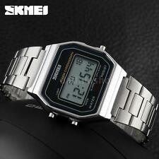 Retro Classic Vintage Style Silver Mens Ladies Digital LED Sport LCD Watch T1DL
