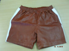 Leather shorts Burgundy with white strip
