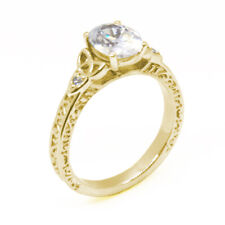 Engagement Ring Trinity Knot Oval Diamond Unique 4 Claw 9ct Gold UK Hallmarked