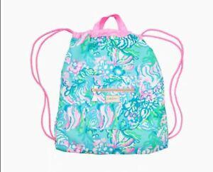 NWT Lilly Pulitzer Drawstring Beach Pack Backpack Bag Aqua La Vista Blue Ibizia