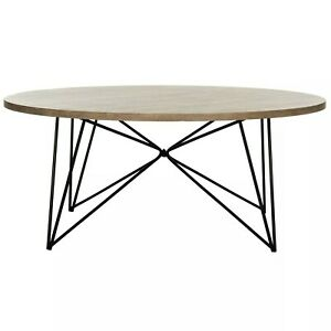 Safavieh FOX4261A Retro Mid Century Wood Coffee Table - Light Grey/Black