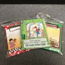 Mary Engelbreit Set 2 Mini Clipboard Notes and 1 Memo with Pen