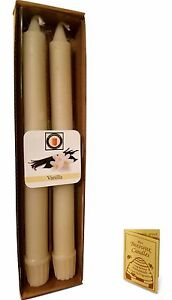 """100 Percent  Pure Beeswax 10"""" Colonial Taper Candle Pair, Vanilla Scent"""