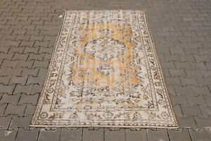 Oushak 5x8ft,Turkish Rug,vintage,anatolian,ORANGE RUG,Bohemian,handmade,wool