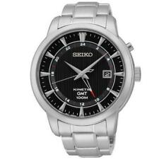 Seiko Kinetic GMT SUN033 P1 Silver with Black Dial Men's Analog Watch