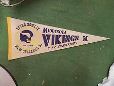 Vintage Minnesota Vikings football pennant super bowl 9 1975 autographed brown