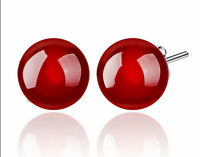 New Fashion 8mm Natural Ruby Red Jade Beads 925 Silver Stud Earrings