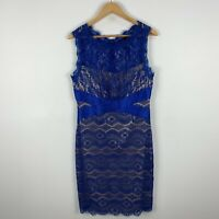 Queenspark Womens Dress 12 Blue Lace Bodycon Sleeveless